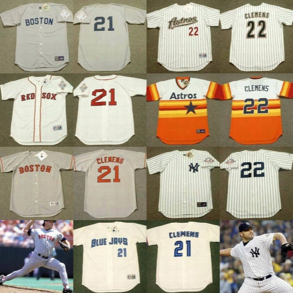 #21 Roger Clemens Cooperstown Throwback Jersey Boston Red Sox 1987 1990 Toronto Blue Jays 1997 New York Yankees 2003 Houston Astros 2004 #22