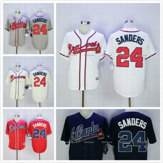 #24 Deion Sanders Braves Jersey White Home Gray Road Navy Blue Red Cream Alternate Stitched 2016 Atlanta Braves Baseball Jerseys