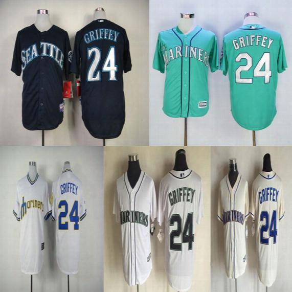24 Ken Griffey Jr Jersey Seattle Mariners Jerseys Cool Base Jersey Cheap Baseball Sport Jersey Color White Blue Green Cream