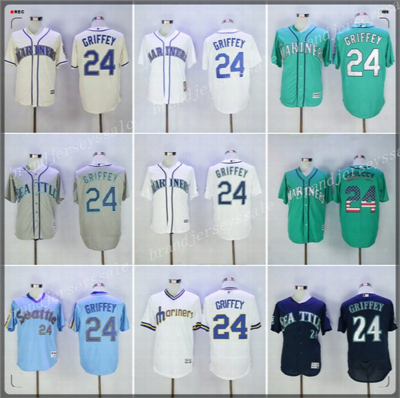 24 Ken Griffey Jr Jerseys Men's Seattle Mariners Ken Griffey Jr Cool Base Cream Green White 2016 Hall Of Fame Mlb Baseball Jerseys