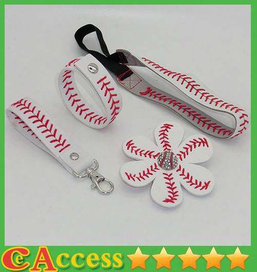 25pcs Baseball Seam Headband+25pcs Baseball Seam Hair Bow+25pcs Baseballs Eam Keychain+25pcs Baseball Seam Bracelet