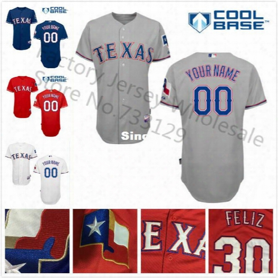 30 Teams- Free Shipping Texas Rangers Jersey New Customized Baseball Jerseys Your Name & Number Stitched Shirt 538