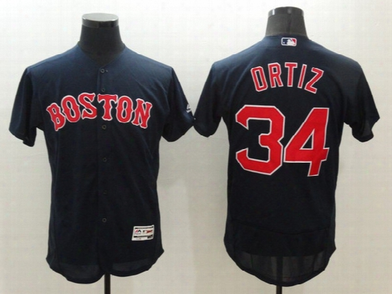 34 David Ortiz 2016 New Men Boston Red Sox Jerseys Majestic Navy Blue Flexbase Collection Mlb Baseball Jersey Free Shipping Mix Order