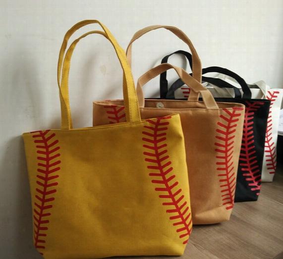 4 Colors In Stock Small Baseballl Cycling Lady Canvas Bag Shoulder Baseball Women's Handbag Cute Canva Tote Bag Basketball Bag