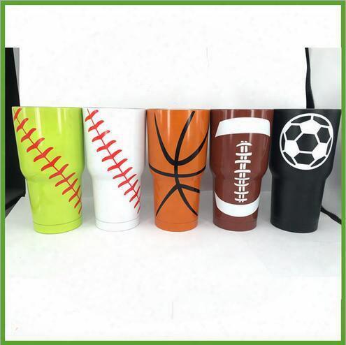 4 Designs Baseball Softball Basketball American Football 30oz Tumbler Cup Vacuum Insulated Beer Mug Stainless Steel Mug Cca6319 30pcs