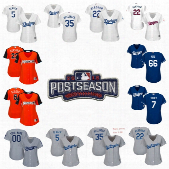 #5 Corey Seager Los Angeles Dodgers Womens 2017 Stars & Stripes 35 Cody Bellinger 7 Julio Urias 10 Justin Turner 99 Hyun-jin Ryu Jerseys