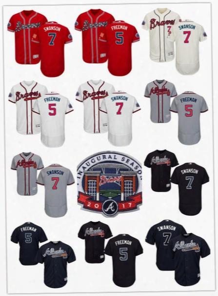 7 Dansby Swanson 5 Freddie Freeman Jersey With 2017 Inaugural Season Patch Baseball Atlanta Braves Jerseys Flexbase Red Blue White Cream