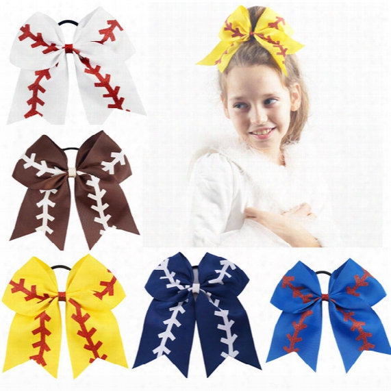 "7"" Large Softball Team Baseball Cheer Bows Handmade Yellow Ribbon And Red Glitter Stiches With Ponytail Hair Holders For Cheerleading Girls"