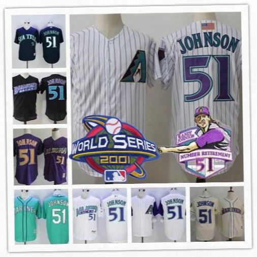 Arizona Diamondbacks Retirement Patch #51 Randy Johnson 1999 Black Purple Throwback 2001 World Series Cream Mariners Expos Stitched Jerseys
