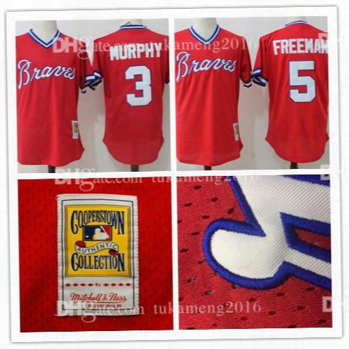 Atlanta Braves 3 Dale Murphy 5 Freddie Freeman Baseball  Jerseys Throwback Mitchell & Ness 1980 Cooperstown Collection Mesh Mlb Jersey