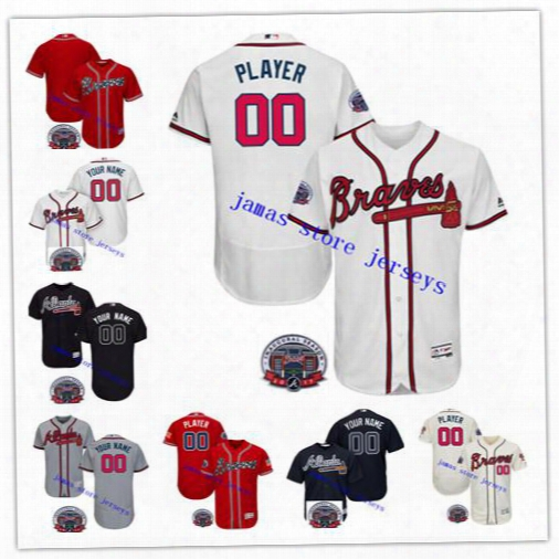 Atlanta Braves Custom Jersey With 2017 Inaugural Season Patch Can Be Custom Any Name Any Number Size S-5xl
