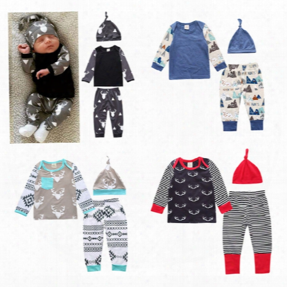 Baby Girls Boys Clothing Sets Toddler Infant Newborn 3pcs Suit Tops Pants Hat Boys Girls Leggings Tights Sweatshirt Pants Kids Clothes 261