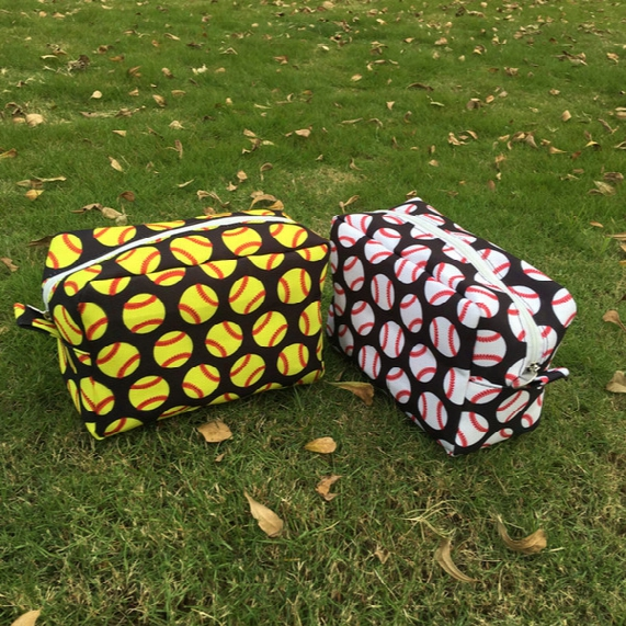 Baseball Cosmetic Bags Polyester Softball Makeup Bag Sports Travel Bags Baseball Team Accessories Bag Support Your Team Dom106482