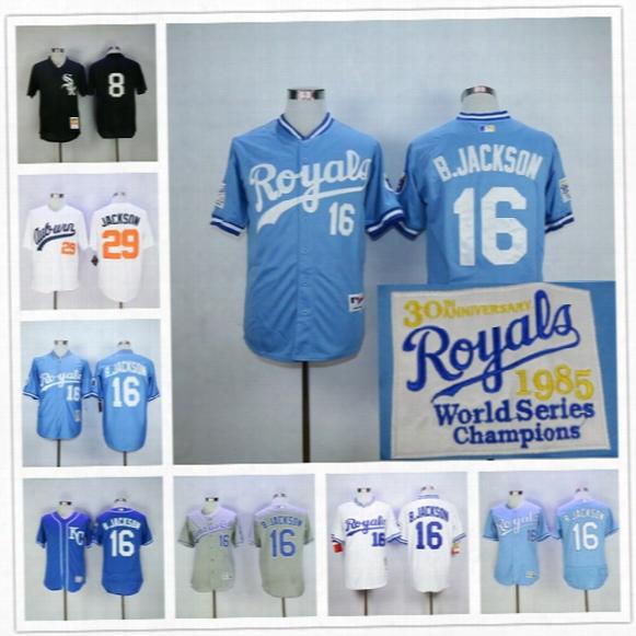 Bo Jackson Jersey Kansas City Royals Baseball 1985 1987 Turn Back Chicago White Sox Auburn 29# Blue White Cooperstown