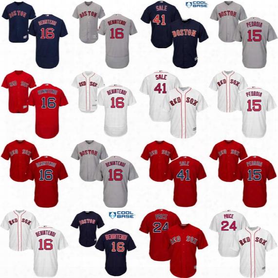 Boston Red Sox 16 Andrew Benintendi 41 Chris Sale 15 Dustin Pedroia 34 David Ortiz Jerseys Flexbase Cool Base Mlb Red White Baseball Jersey
