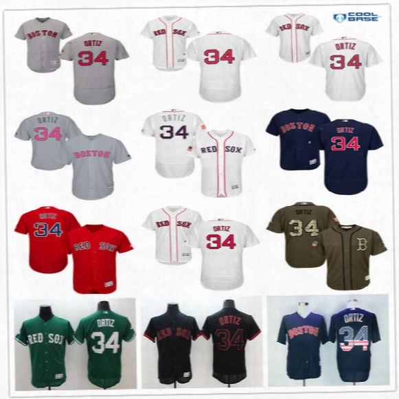 29ba7b7a5c7 Boston Red Sox  34 David Ortiz Navy Blue Usa Flag Gray Red Black White  Fashion