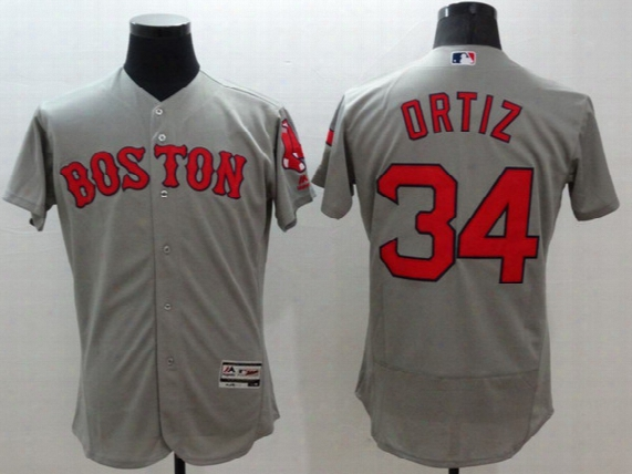 Boston Redsox #34 David Ortiz Men's New Grey #15 Pedroia Jerseys