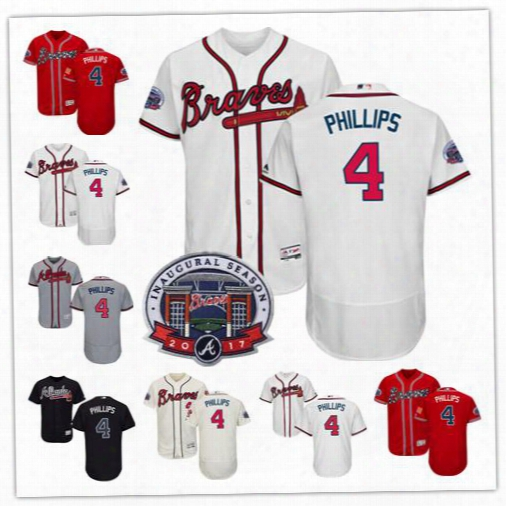 Brandon Phillips Jersey #4 Atlanta Braves Baseball Jersey Flexbase Coolbase With 2017 Inaugural Suntrust Park Commemorative Patch