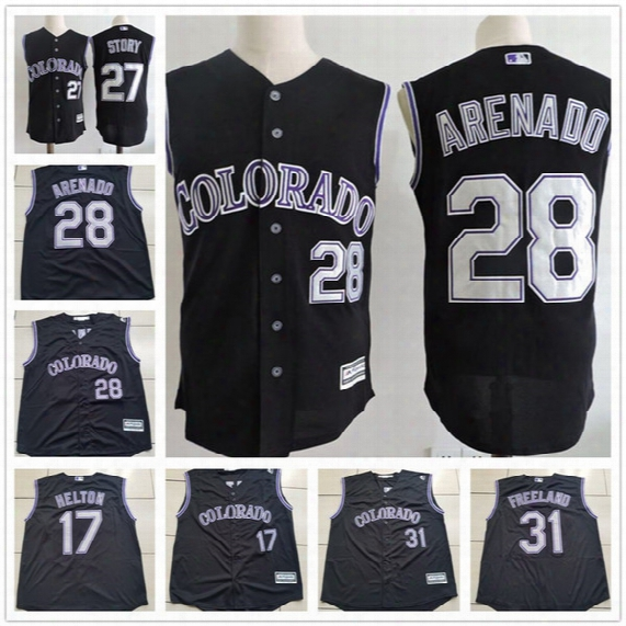 Cheap Custom Colroado Rockies #28 Nolan Arenado 27 Trevor Story 17 Todd Helton 19 Blackmon Black Vest Sleeveless Stitched Mens Jerseys S,3xl