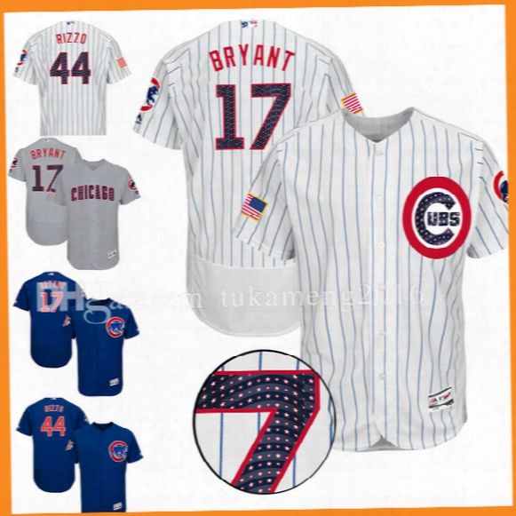 Chicago Cubs Anthony Rizzo Kris Bryant Baseball Jersey 2017 Stars And Stripes Ryne Sandberg Javier Bae Kyle Schwarber Gold Program Jerseys