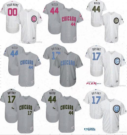 Chicago Cubs Jersey #9 Baez #17 Bryant #44 Rizzo #12 Schwarber Custom Mother Day Father Day Memorial Day Personalized Mlb Baseball Jerseys