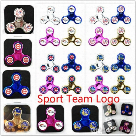 Chicago Cubs Sport Fidget Spinner New York Yankees Broncos Warriors Three-way With Pvc Box Edc Hand Spinner Toy With Baseball Team Logo Hot