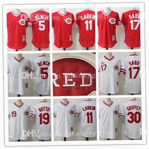 Cincinnati Reds Johnny Bench Barry Larkin Chris Sabo Throwback Baseball Jerseys Joey Votto Ken Griffey Jr 100% Stitched Mesh Mlb Jersey