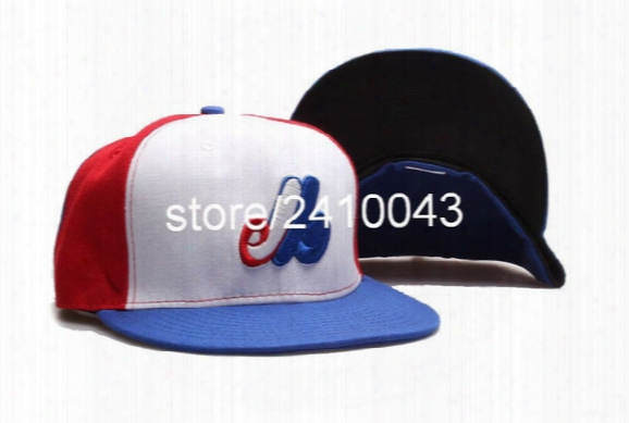 Classic Montreal Expos Baseball Fitted Hats Men's Flat Full Closed Size Caps Logo Embroidery White/blue/red Color