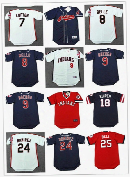 Cleveland Indians 1993 Throwback Jerseys Baseball 8 Albert Belle 7 Kenny Lofton 24 Manny Ramirez 9 Carlos Baerga 18 Duane Kuiper 25 Bell