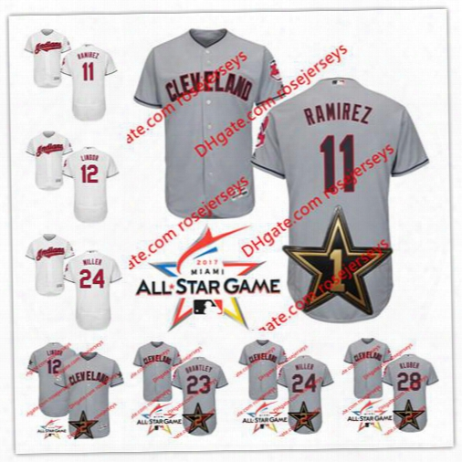 Cleveland Indians 2017 All-star Game Worn Jersey 11 Jose Ramirez 12 Lindor 23 Michael Brantley 24 Andrew Miller 28 Corey Kluber Gray Jerseys