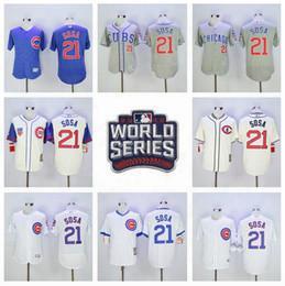 Cooperstown 21 Sammy Sosa Jersey Baseball 2016 Postseason World Series Chicago Cubs Jerseys Flexbase White Pinstripe Grey Pullover Blue
