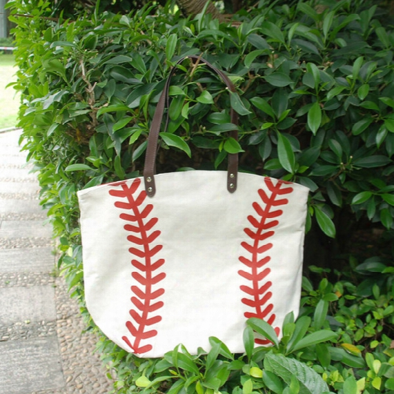 Cotton Canvas Baseball Tote Wholesale Blanks Baseball Purse With Pu Handle And Magnetic Snap Closure Free Shipping Dom106281