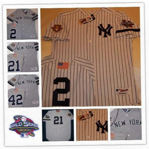 Custom New York Yankees 2001 World Series Jersey 2 Derek Jeter 51 Bernie Williams 21 Paul O'neill White Gray Stitched Three Patches Jerseys