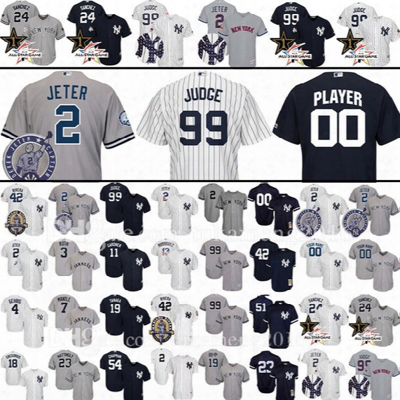 Custom New York Yankees 99 Aaron Judge 2 Derek Jeter Baseball Jersey 23 Mattingly Sanchez Mariano Rivera Ruth Mantle Gardner Gardner Jerseys