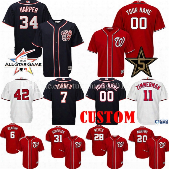 Custom Washington Nationals 34 Bryce Harper 7 Trea Turner Baseball Jerseys Max Scherzer Zimmerman 20 Murphy Rendon Strasburg All Star Jersey