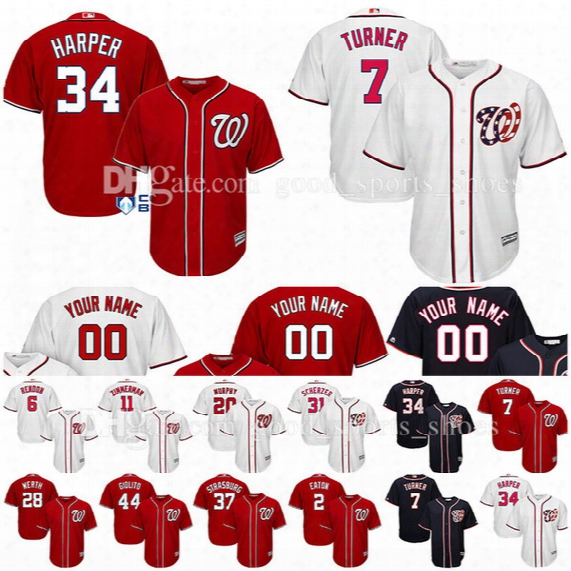 Custom Washington Nationals Jerseys Bryce Harper Trea Turner Scherzer Murphy Strasburg Werth Giolito Eaton Rendon Zimmerman Baseball Jersey