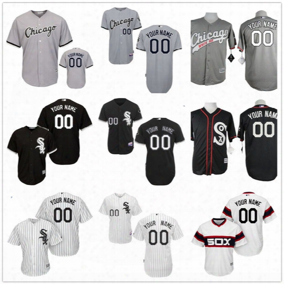 Customized Chicago White Sox Mens Womens Youth Kids Vintage Pullover Gray Road Black Personalized Sewn On Your Own Name Number Jerseys S,4xl