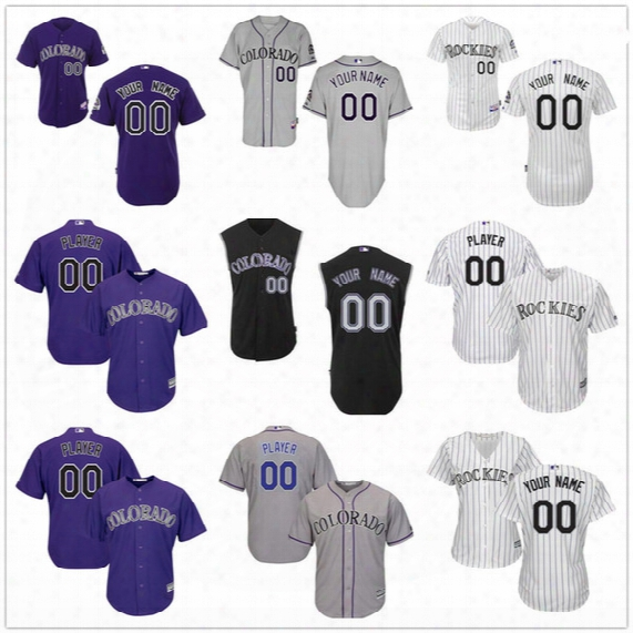 Customized Colorado Rockies Mens Womens Kids Gray Road White Black Vest Sleeveless Personalized Sewn On Your Own Name Number Jerseys S,4xl