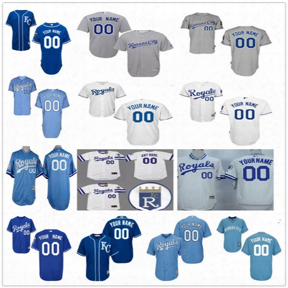 Customized Kansas City Royals Mens Womens Kids Gray Road White Blue Pullover Vintage Personalized Sewn On Your Own Name Number Jerseys S,4xl
