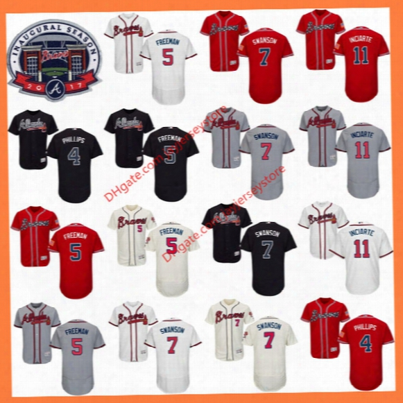 Dansby Swanson Jersey Freddie Freeman Chipper Jones Hank Aaron Baseball Atlanta Braves Jerseys Flexbase Red Black Grey White Cream