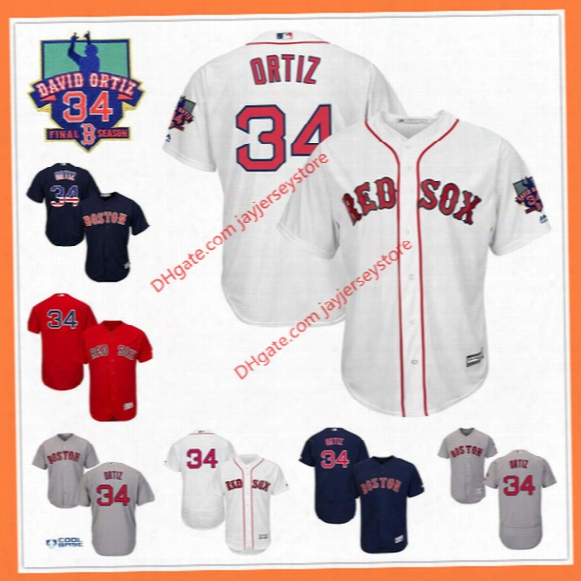 David Ortiz  Jersey With Retired Final Season Patch Flexbase White Flag Grey Red Cool Base