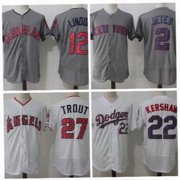Dodgers #22 Clayton Kershaw Fashion Jersey Stars & Stripes Baseball Jersey #2 Jeter Men Jersey Cubs #17 Kris Bryant Baseball Uniform
