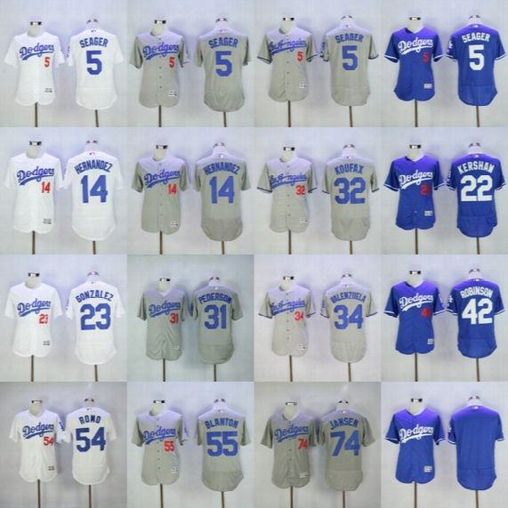 Dodgers Jerseys Cheap Mens 5 Corey Seager 7 Julio Urias 22 Clayton Kershaw 32 Sandy Koufax 35 Cody Bellinger 42 Robinson 54 Sergio Romo