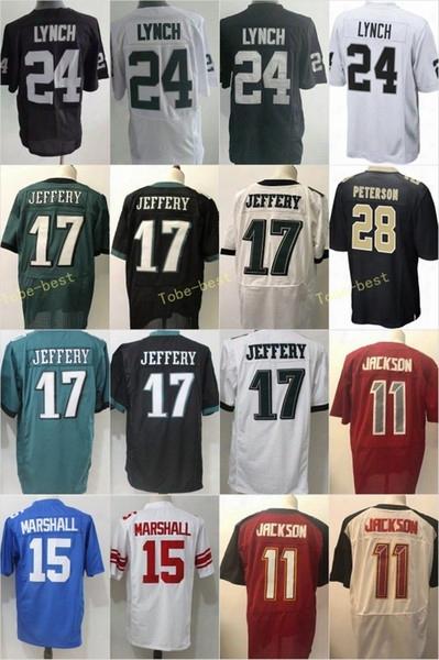 Elite 24 Lynch Jersey 15 Marshall 17 Jeffery 28 Peterson 11 Jackson Black White Green Blue Red Men Women Youth Jerseys Game Stitched