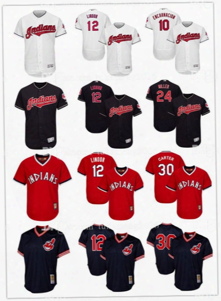 Embroidery 12 Francisco Lindor Cleveland Indians Baseball Jerseys 30 Joe Carter Edwin Encarnacion Andrew Miller Throwback Flex Base Jersey