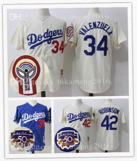 Embroidery 34 Fernando Valenzuela Los Angeles Dodgers Cool Base Baseball Jerseys 42 Jackie Robinson 31 Mike Piazza Throwback Mesh Jersey