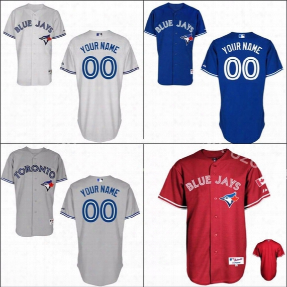 Factory Outlet Personalized Cheap Mens Womens  Kids Toronto Blue Jays Blue Red White Grey Flex/cool Base Baseball Jerseys Embroidery Logo