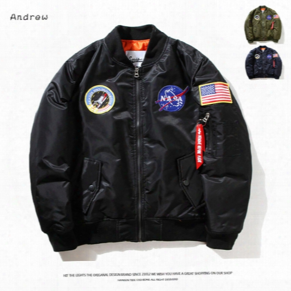 Fall-flight Pilot Jacket Coat Bomber Ma1 Men Bomber Jackets Nasa Air Force Embroidery Baseball Military Coats M-xxl Cd0002 Cd0001