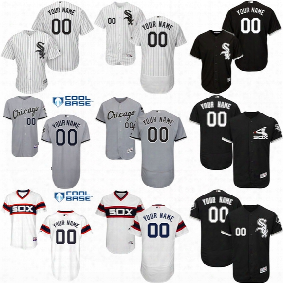 Free Shipping!custom Men's Chicago White Sox Jerseys White Grey Black Stitched Name And Number Size S-3xl