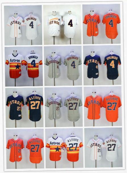 George Springer Jersey Jose Altuve Houston Astros Baseball Jersey Flexbase Coolbase White Orange Grey Rainbow 2017 New